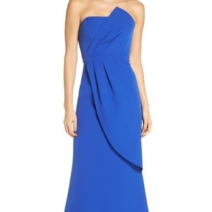 NWT Vince Camuto Strapless Faux Wrap Evening Dress